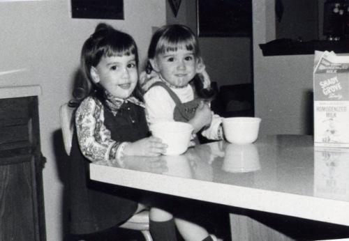 Pam Muzyka & Allison Rokusek drinking milk at Grandpa Muzyka's House